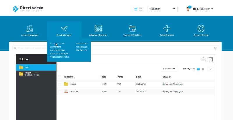 directAdmin: screenshot del pannello di controllo