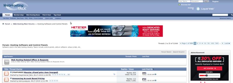 webhostingtalk.com: la screenshot del post con migliaia di risposte