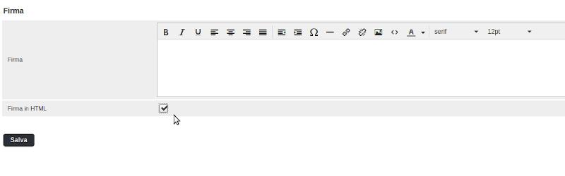firma in html su roundcube