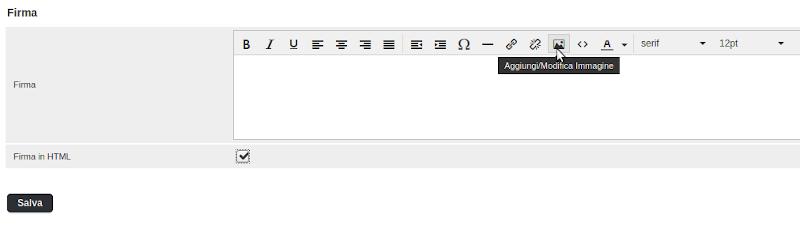 inserire una immagine nella firma delle email con Roundcube